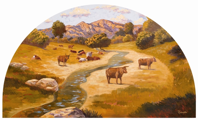 Mural depicts the raising of cattle from the rancho period