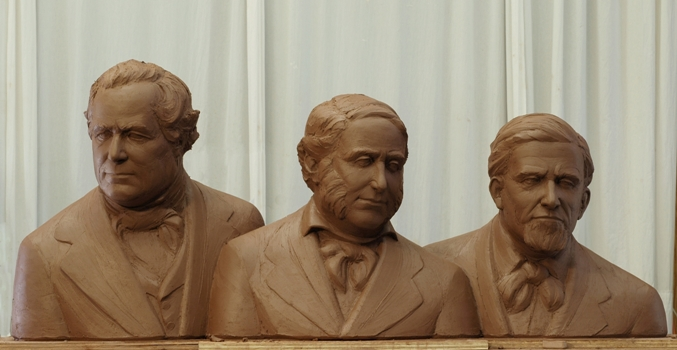 "Terra cotta bust of John ""Don Juan"" Forster, Don Juan Avila, and Don Jose Serrano"