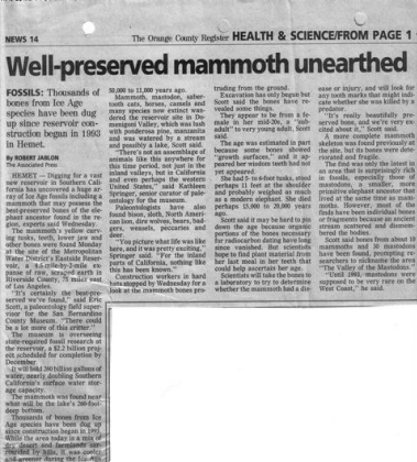 Mammoth Unearthed, OC Register